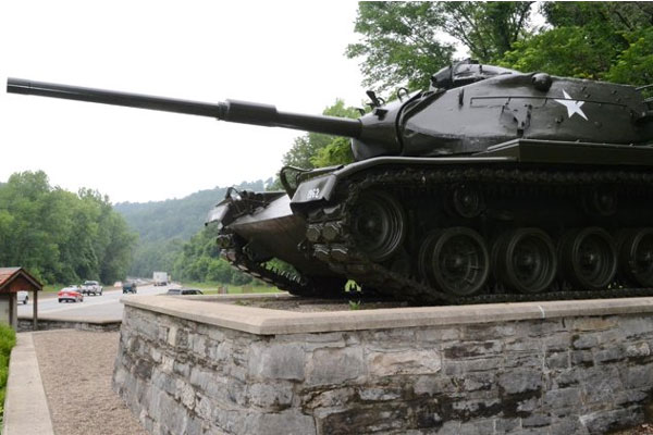 An old Army tank now stands as a monument near the entrance to Fort Knox, Ky.