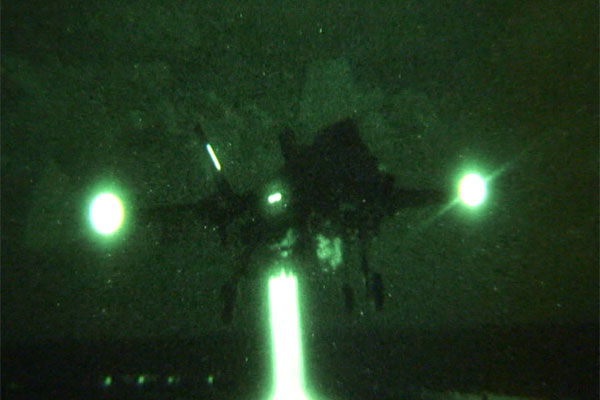F-35B Lightning II night landing 600x400
