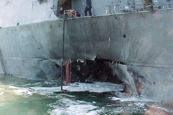 USS Cole damage after bombing 600x400
