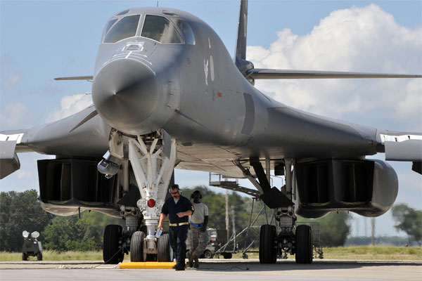 B-1 sits on the flight line 600x400