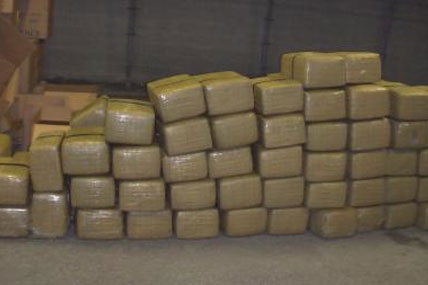 Bales of marijuana seized from a panga boat