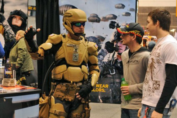 U.S. Special Operation Command displays a version of the Iron Man suit at the 2012 Chicago Auto Show. (Defense Department photo)