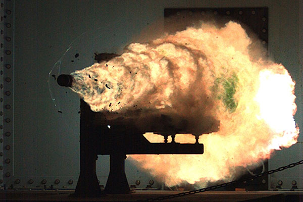 The Navy test fires an electromagnetic railgun in a lab. (Source: U.S. Navy)