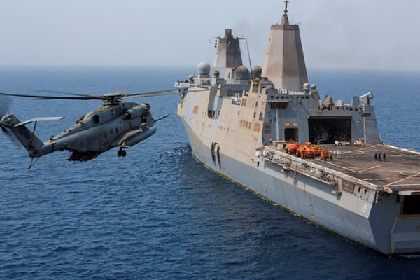 A Marine Corps CH-53E Super Stallion crashed Monday in the Gulf of Aden (Source: U.S. Navy)