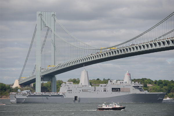 The amphibious transport dock ship USS San Antonio (LPD 17) enters New York harbor during the Parade of Ships to start Fleet Week New York 2015. (U.S. Navy photo by Mass Communication Specialist 2nd Class Abe McNatt/Released)