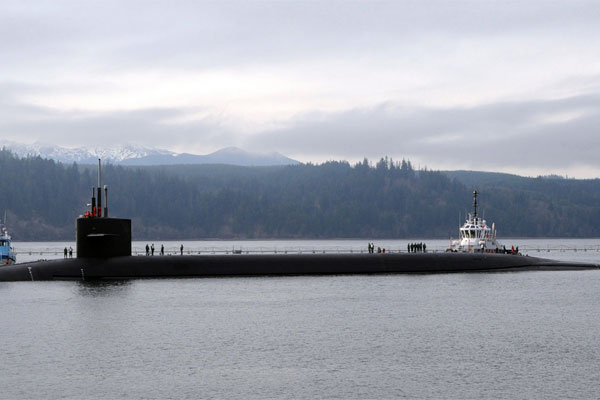 The Ohio-class ballistic-missile submarine USS Alabama (SSBN 731) returns to Naval Base Kitsap-Bangor following a strategic deterrent patrol. (U.S. Navy photo)
