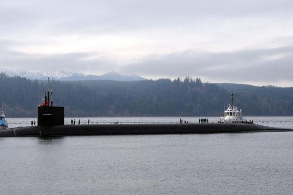 The Ohio-class ballistic-missile submarine USS Alabama (SSBN 731) returns to Naval Base Kitsap-Bangor following a strategic deterrent patrol. (U.S. Navy photo)