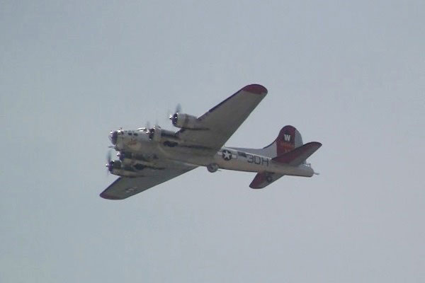 Caption: World War II-era aircraft, including this B-17 Flying Fortress, as well as other bombers, fighters and trainers flew over the National Mall on Friday to commemorate the 70th anniversary of V-E Day. (Photos by Brendan McGarry / Military.com)