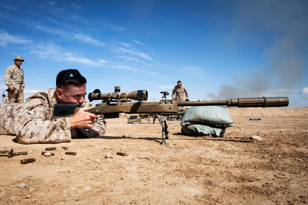 U S  Marine Corps Lance Cpl  Isaac Hernandez sights in on his target during  an exercise
