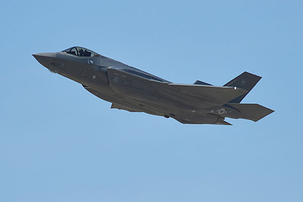 A pilot from Luke Air Force Base, Ariz., flew the 1,000th F-35A Lightning II training sortie March 31, 2015. The 56th Fighter Wing is the fastest F-35 wing to reach the 1,000-sortie milestone. (U.S. Air Force/Senior Airman Devante Williams)