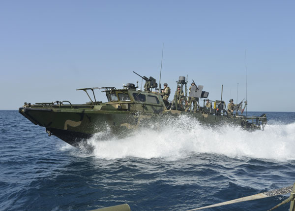 The Pentagon released this file image of the Riverine Command Boat, two of which entered Iranian territorial waters on Tuesday, resulting in 10 American sailors being held by Iranian authorities. (U.S. Defense Department photo)
