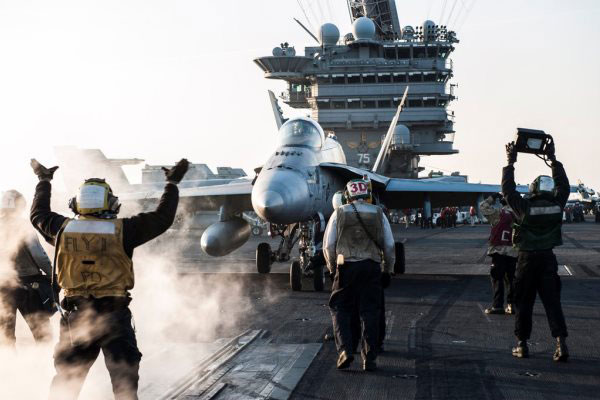 Caption: An F/A-18C Hornet is ready to launch from the deck of the USS Harry S. Truman in the Arabian Gulf, Feb. 3, 2016, on a mission in support of Operation Inherent Resolve. (US Navy photo)