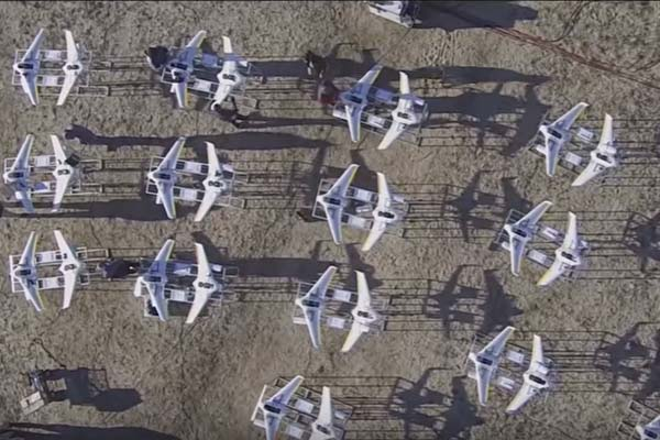 The Low-Cost Unmanned aerial vehicle Swarming Technology is a prototype tube-launched UAV. The LOCUST program will make possible the launch of multiple swarming UAVs to autonomously overwhelm and adversary. (Video Still: ONR Video)