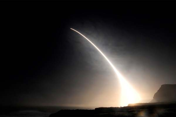An unarmed Minuteman III intercontinental ballistic missile (ICBM) is launched during an operational test at Vandenberg Air Force Base, Calif., Feb. 20, 2016. (U.S. Strategic Command)