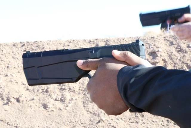 SilencerCo LLC.'s Maxim 9 integrally suppressed pistol will be available for sale this April. Photo: Matthew Cox, Military.com.