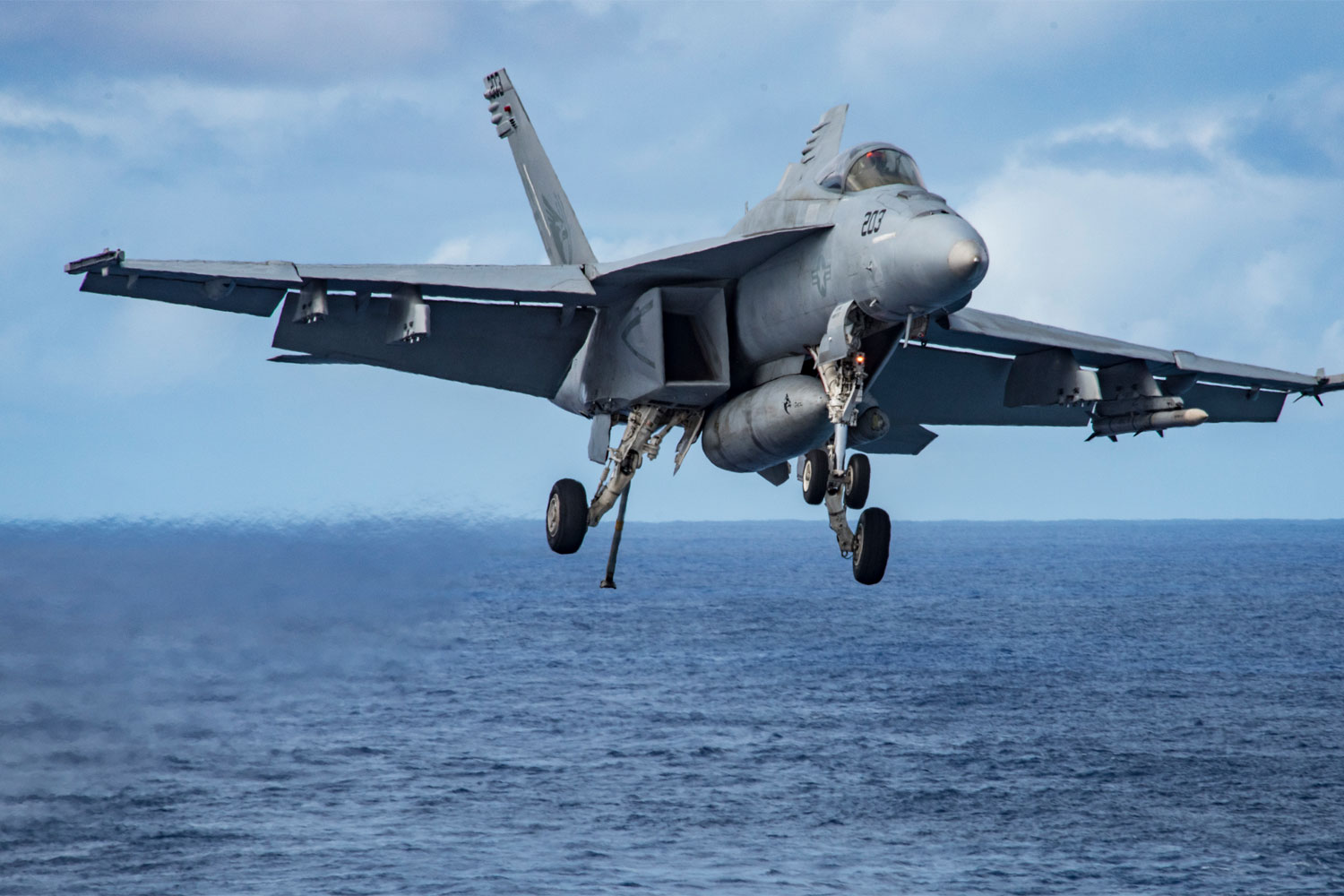 US Fighter Pilot Approaching USS Carl Vinson Ejects Safely