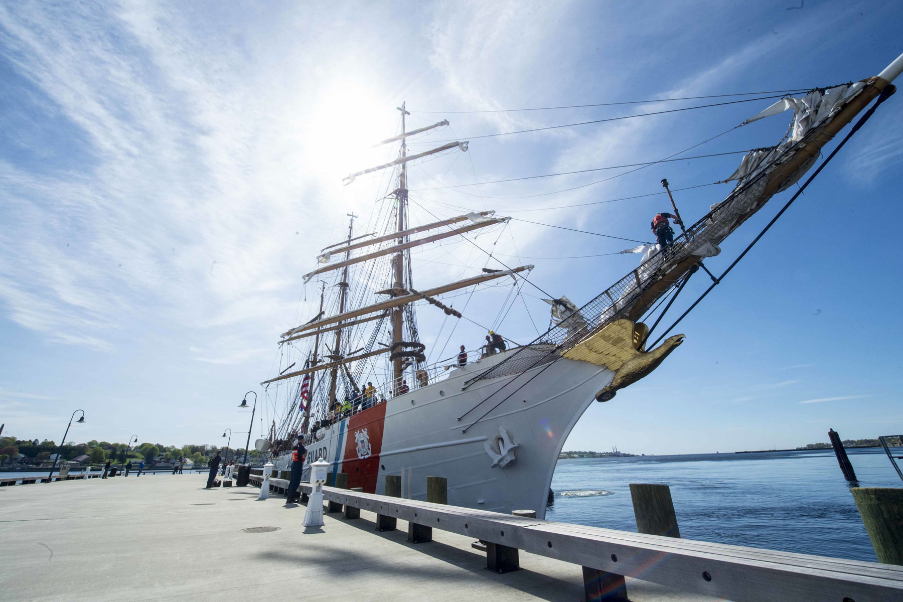 two tall ships will moor in portland during coast guard