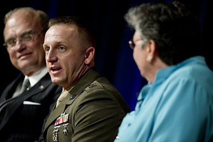 Marine Capt. Matthew Phelps participates in a discussion panel during the Defense Department's Lesbian, Gay, Bisexual and Transgender Pride Month event at the Pentagon on June 26. Photo by Petty Officer 1st Class Chad J. McNeeley