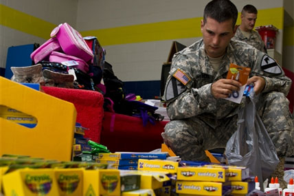 Soldier with school supplies 428x285