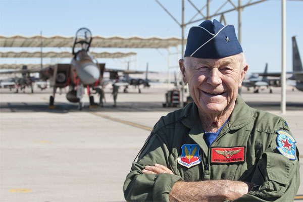 the life and military career of us air force pilot charles chuck e yeager Charles e yeager (born 1923), a test pilot for the united states air force, was the first person to fly a plane faster than the speed of sound charles (chuck) e yeager was born in myra, west virginia on february 13, 1923.