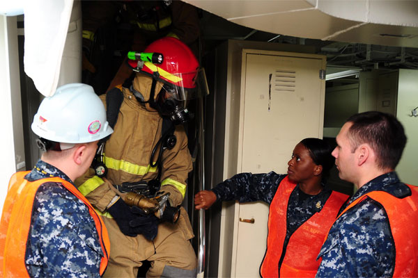 Sailors performing a drill 600x400