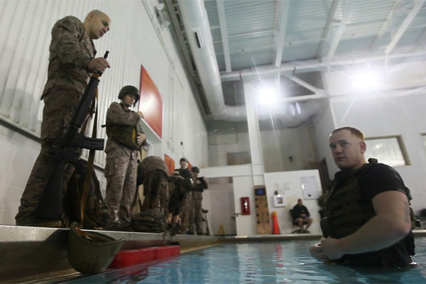 Marine Sgt. Seth Handy, instructor of water survival 600x400