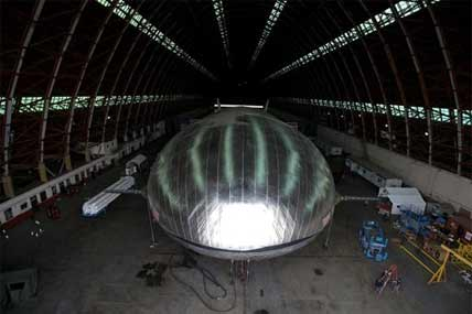 The Aeroscraft airship, a high-tech prototype airship, is seen in a World War II-era hangar in Tustin, Calif., Thursday, Jan. 24, 2013.