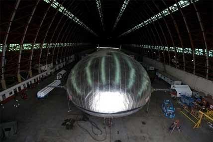 The Aeroscraft airship, a high-tech prototype airship, is seen in a World War II-era hangar in Tustin, Calif., Thursday, Jan. 24, 2013.