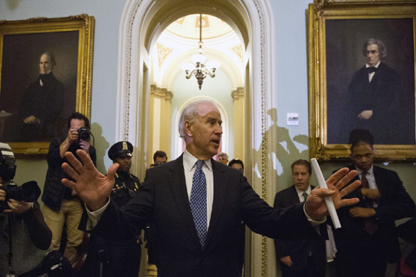 Vice President Joe Biden speaks following a Senate Democratic caucus meeting about the fiscal cliff on Capitol Hill on Monday, Dec. 31, 2012 in Washington.(AP Photo/Alex Brandon)