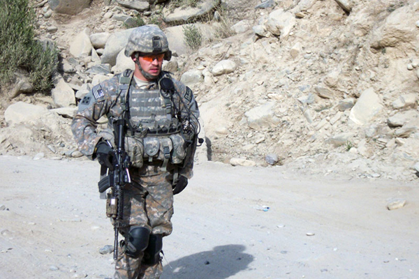 Undated photo of Army Staff Sgt. Clinton Romesha on duty in Afghanistan. Romesha will be awarded the Medal of Honor at the White House on Feb. 11 for his actions at Combat Outpost Keating in Afghanistan on Oct. 3, 2009. (Photo courtesy of Romesha family)