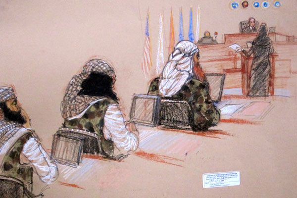 Sept. 11 defendants Ramzi Binalshibh, Walid bin Attash and the self-proclaimed terrorist mastermind Khalid Sheikh Mohammed, attend a hearing on pretrial motions in their death penalty case at the Guantanamo Bay U.S. Naval, Monday, Jan. 28, 2013.