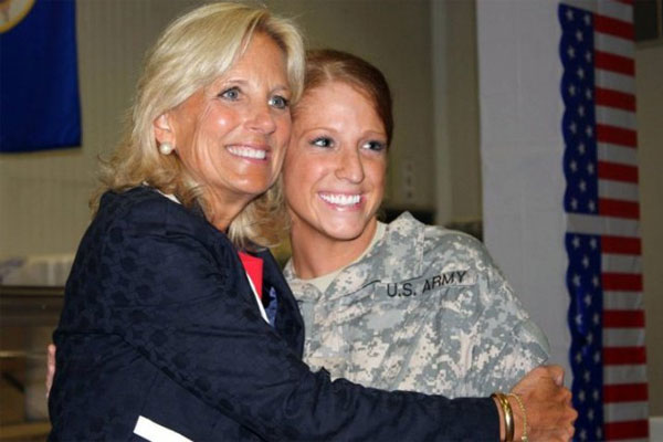 Sgt. Ashleigh Berg with Jill Biden 600x400