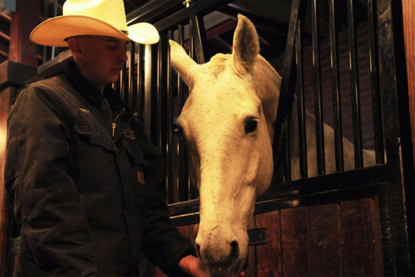 Army Spc. Jacob Eberly with Caisson horse 600x400