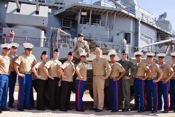 Marines in front of USS Missouri Battleship Memorial 600x400