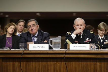 Outgoing Defense Secretary Leon Panetta, and Joint Chiefs Chairman Gen. Martin Dempsey, testify on Capitol Hill in Washington, Thursday, Feb. 7, 2013.