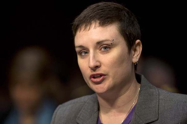 "Former Army Sgt. Rebekah Havrilla told a Senate panel hearing on March 13, 2013, that she encountered a ""broken"" military criminal justice system after she was raped by another service member while serving in Afghanistan. (AP Photo/Carolyn Kaster)"