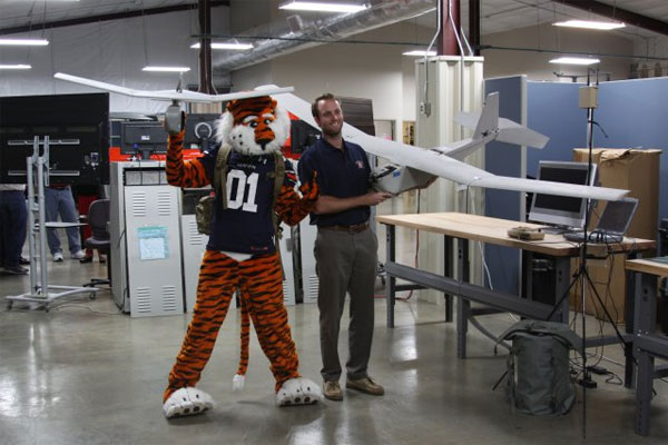 Auburn University mascot Aubie with RQ-11A Raven 600x400