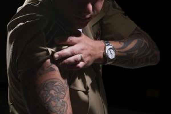 Gunnery Sergeant Dustin Hamiltons tattoos 600x400