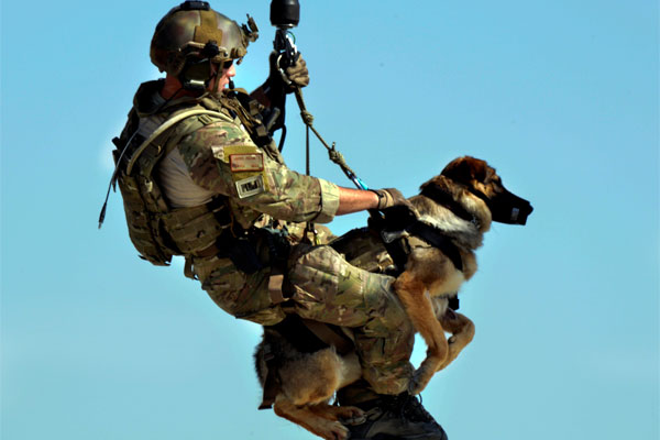 Airman 1st Class Jason Fischman hoists dog 600x400