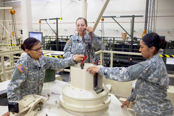 female soldiers work on an Abrams tank simulator 600x400