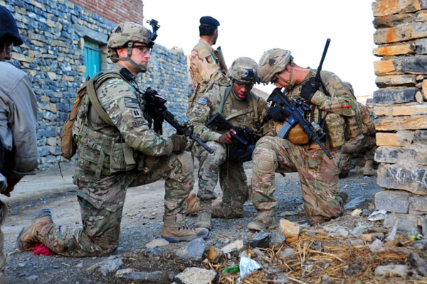 Commanders of a 101st Airborne Division patrol in Afghanistan
