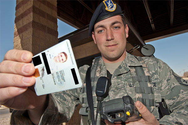 Staff Sgt. Matthew Dodson with ID card