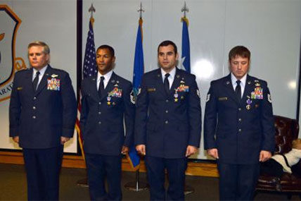 Then-Staff Sgt. Christopher Baradat is second from right in this 2014 photograph. (Defense Department)