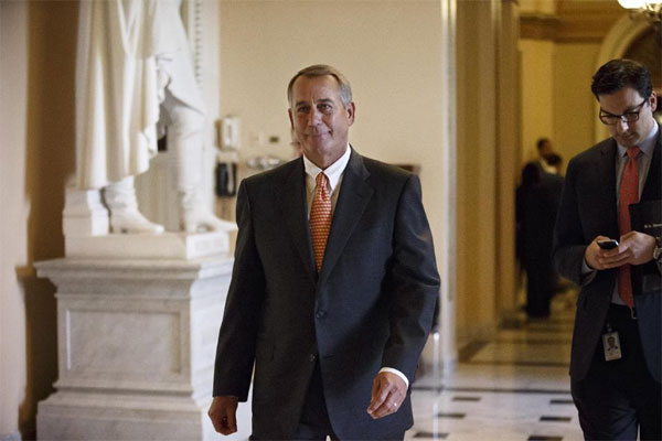 House Speaker John Boehner of Ohio leaves the House chamber