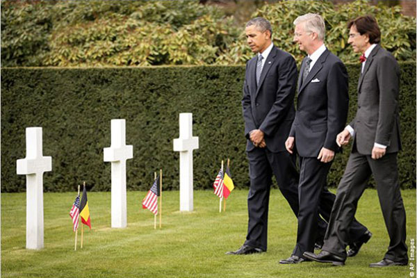 President Obama visited the Flanders Field cemetery to reflect on the World War I anniversary.
