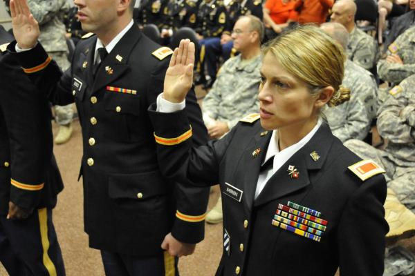 A U.S. Army officer recites the oath of office in Bethany Beach, Del., on Nov. 2, 2013. (U.S. Army photo by Brendan Mackie)
