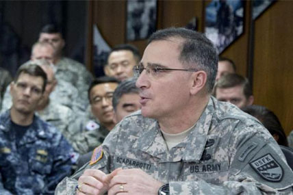 in this April 26, 2014 file photo, U.S. Army Gen. Curtis Scaparrotti speaks at the U.S. Army Garrison Yongsan, South Korea. (AP Photo/Carolyn Kaster, File)