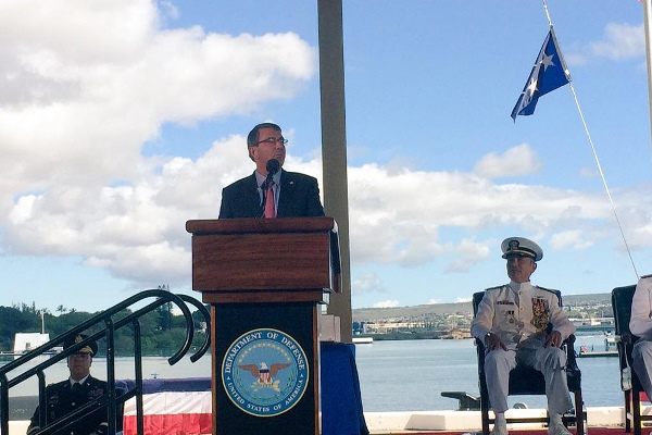 Defense Secretary Ash Carter makes remarks during the U.S. Pacific Command and U.S. Pacific Fleet change-of-command ceremonies in Honolulu, May 27, 2015. (DoD photo)