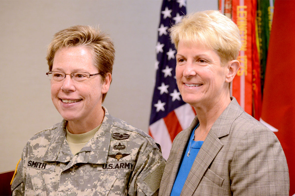 Army Reserve Deputy Chief of Staff Brig. Gen. Tammy Smith and her wife, Tracey Hepner. Smith asked Hepner to come to stand with her at the LGBT Pride event to announce the Supreme Court's decision making same-sex marriage the law of the land.