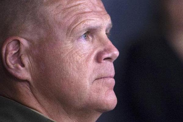 Marine Corps. Lt. Gen. Robert Neller listens at the Pentagon as Defense Secretary Ash Carter recommends naming Neller as